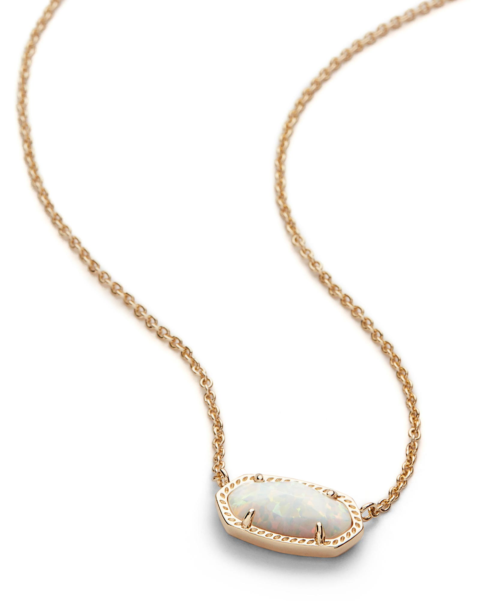 Elisa Gold Pendant Necklace in White Opal