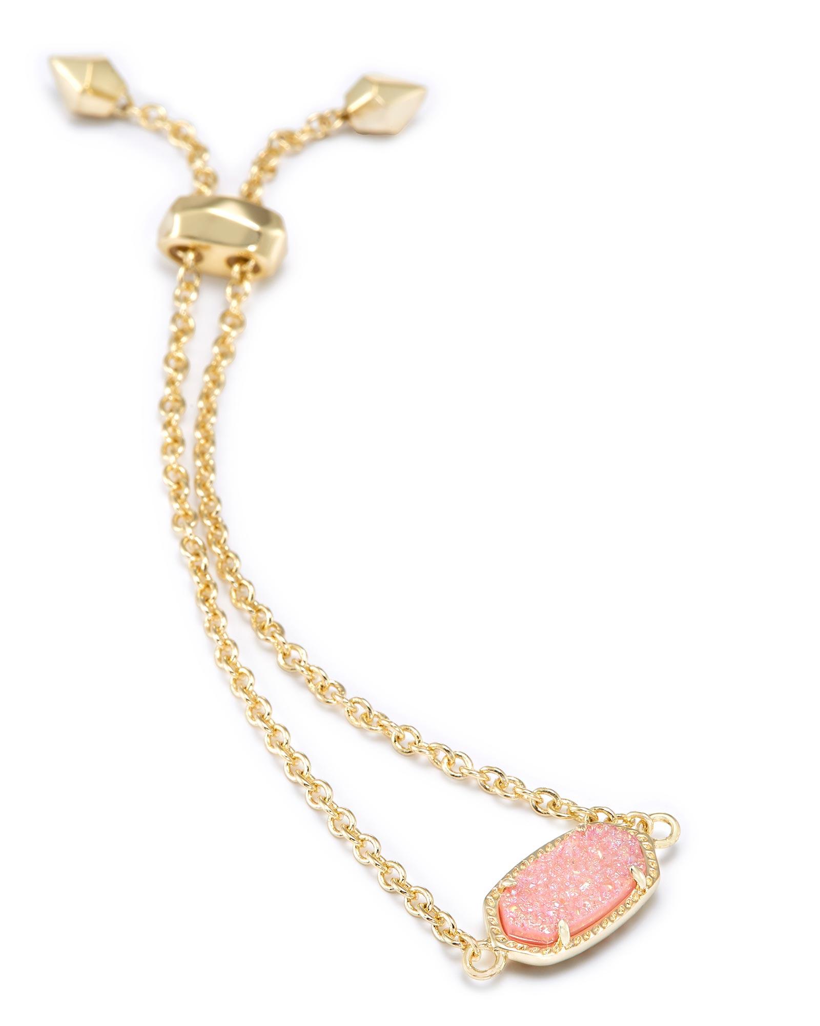 Elaina Gold Chain Bracelet In Light Pink Drusy Kendra Scott