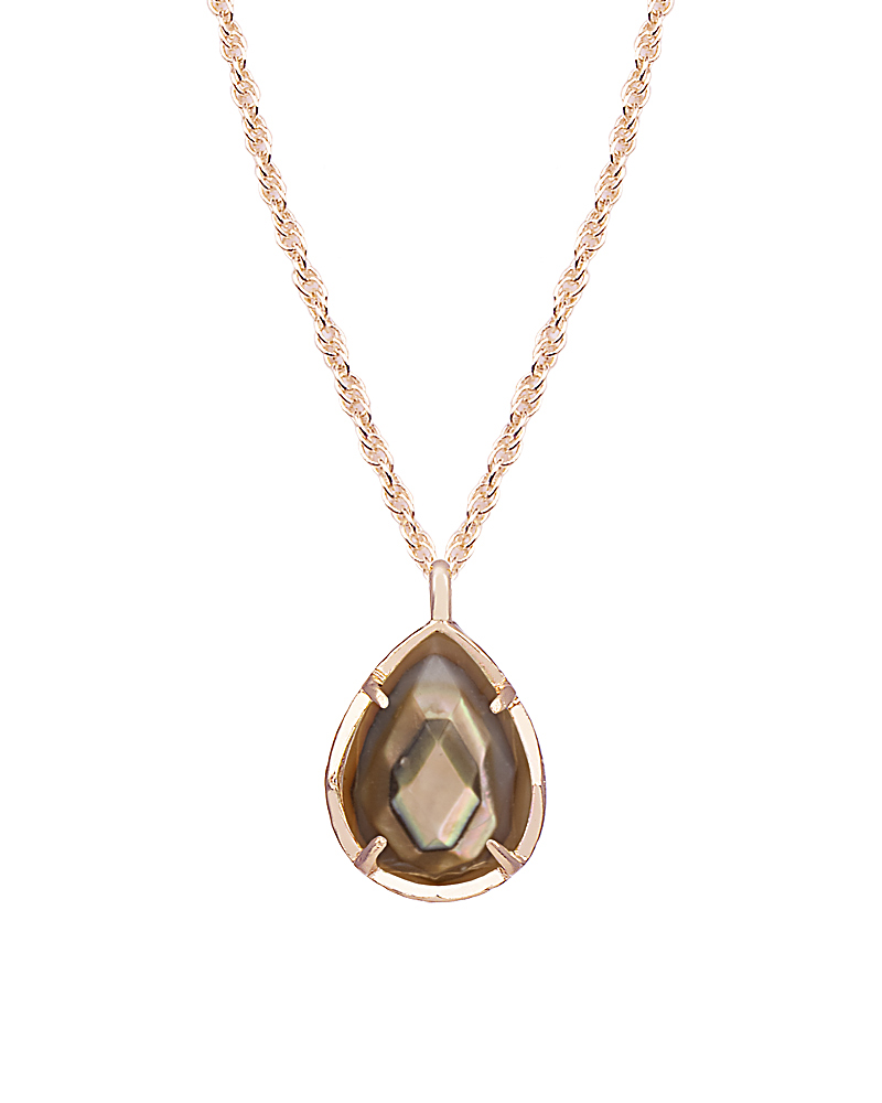 Kiri Rose Gold Pendant Necklace In Brown Pearl Kendra Scott
