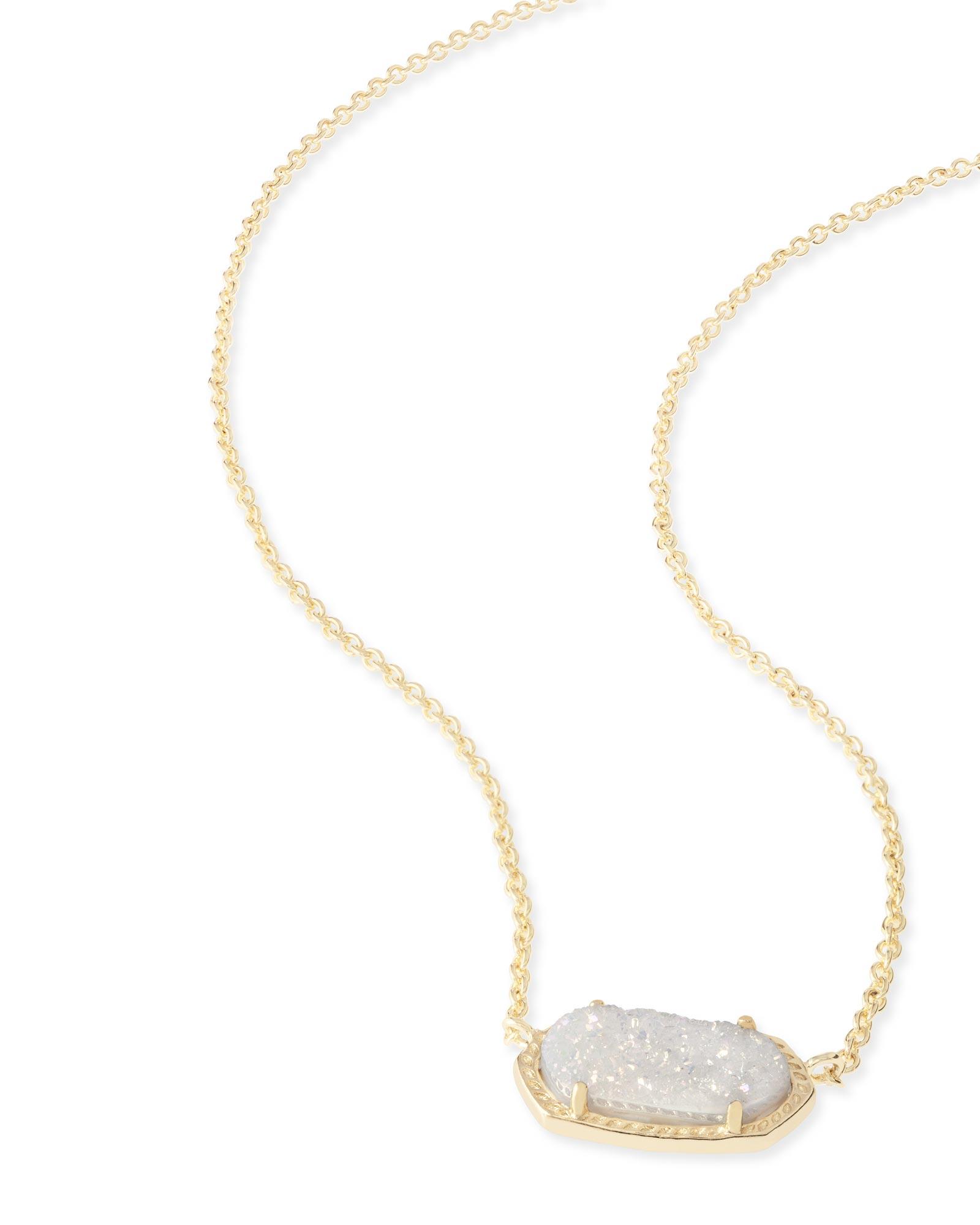 Elisa Gold Pendant Necklace In Drusy Kendra Scott