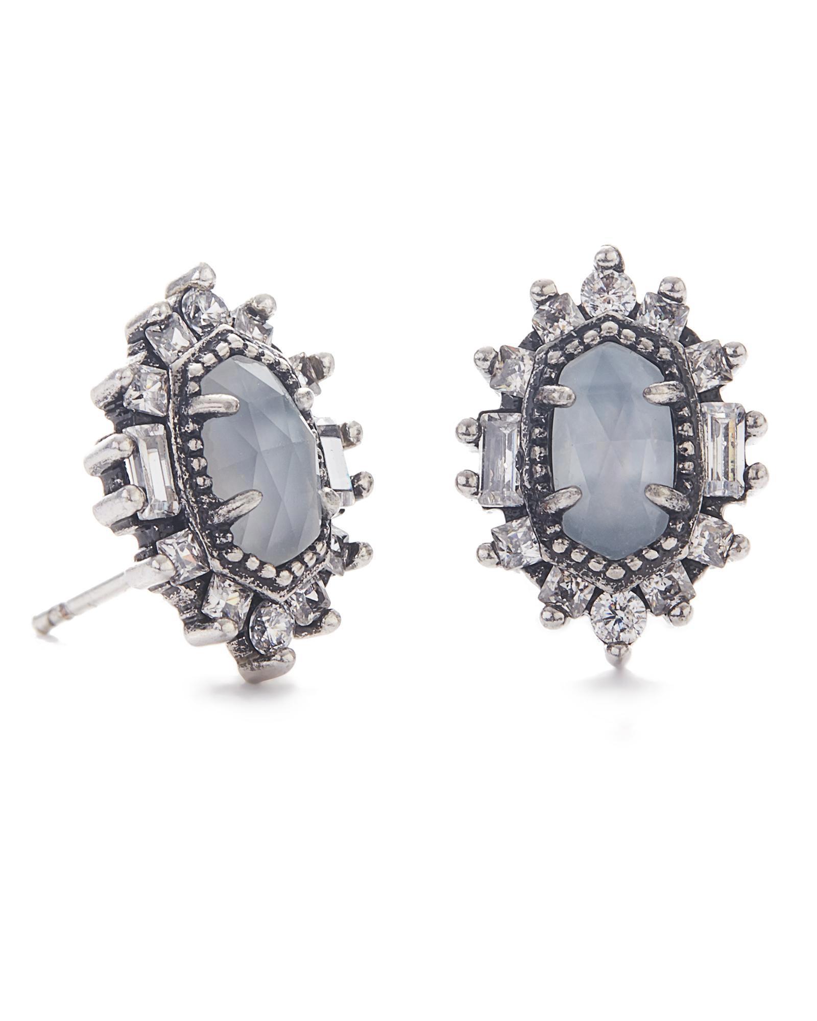 Kaia Vintage Stud Earrings in Silver