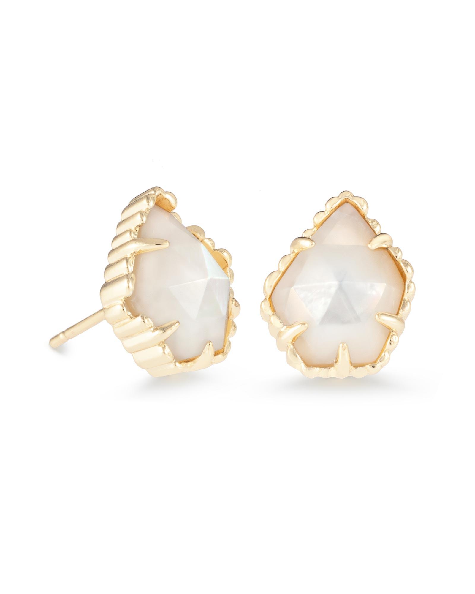 tessa gold stud earrings in ivory pearl kendra