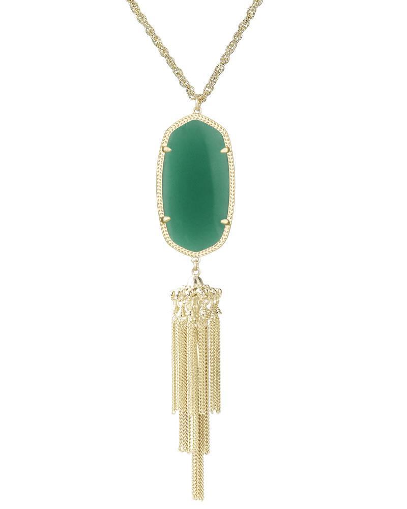 Rayne gold long pendant necklace in green kendra scott for Kendra scott fine jewelry