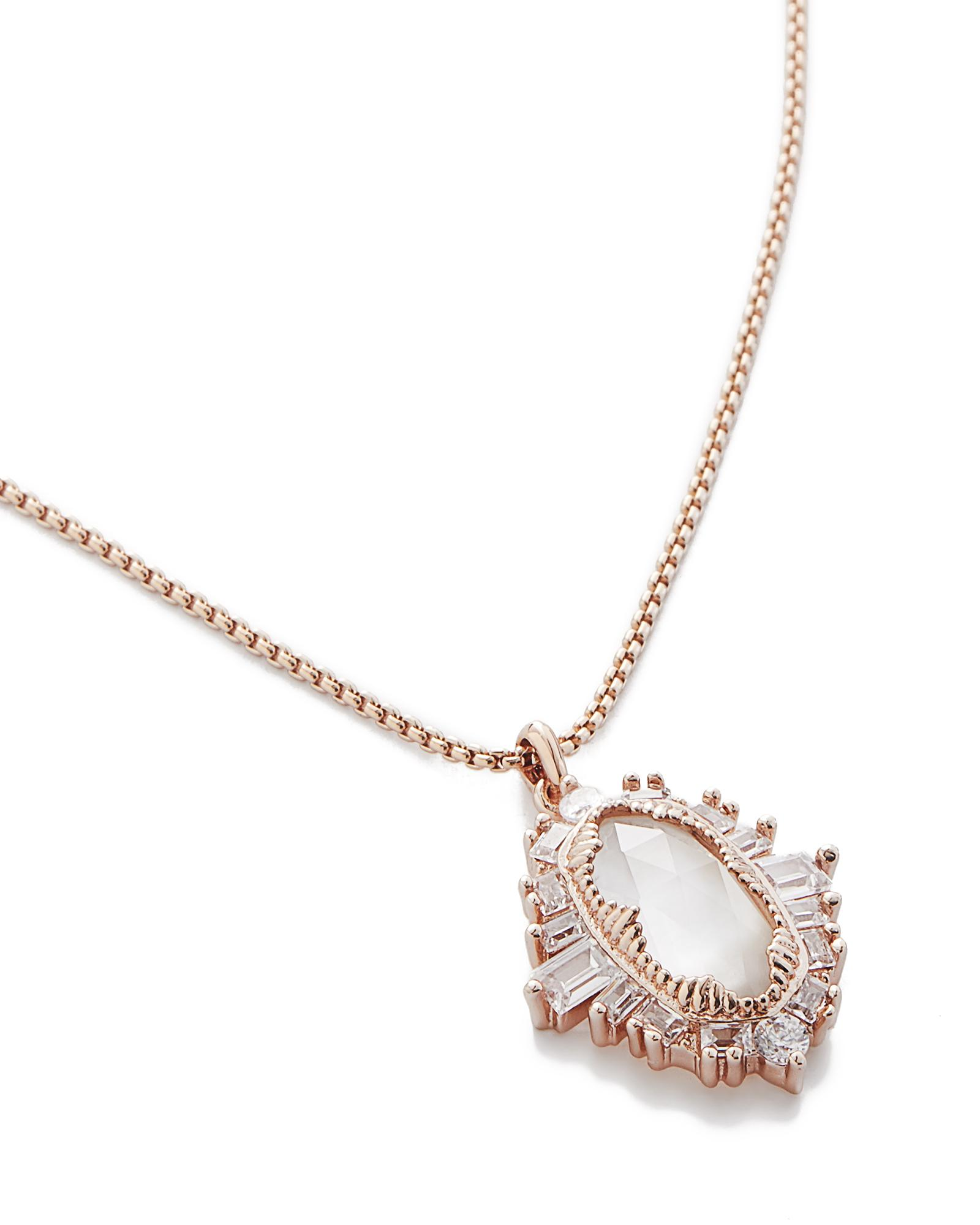 Kay Long Rose Gold Necklace In Ivory Pearl Kendra Scott
