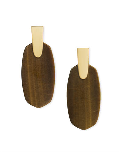 Aragon Gold Drop Earrings in Brown Tigers Eye