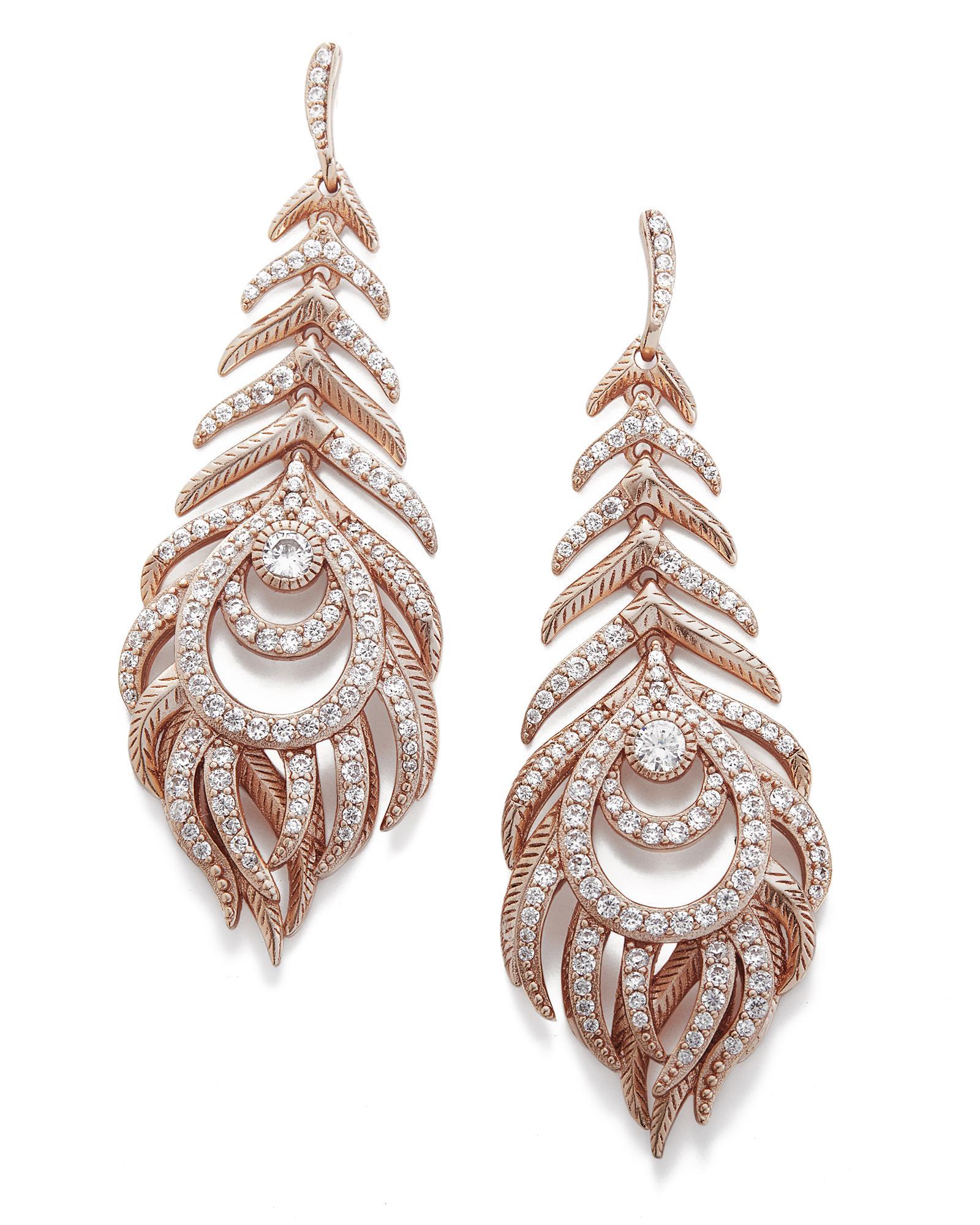 Elettra rose gold feather drop earrings kendra scott for Kendra scott fine jewelry