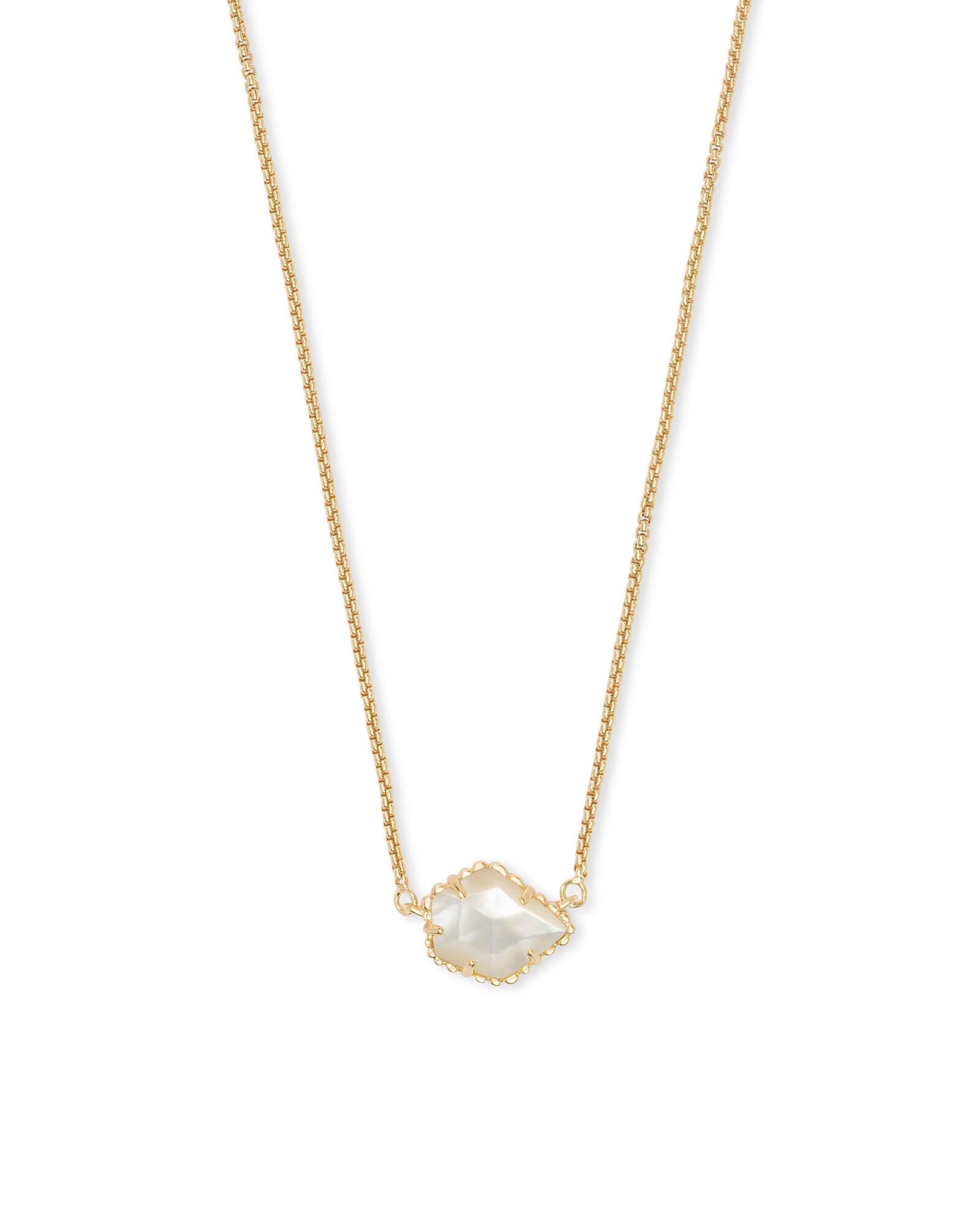 Tess Gold Pendant Necklace in Ivory Pearl