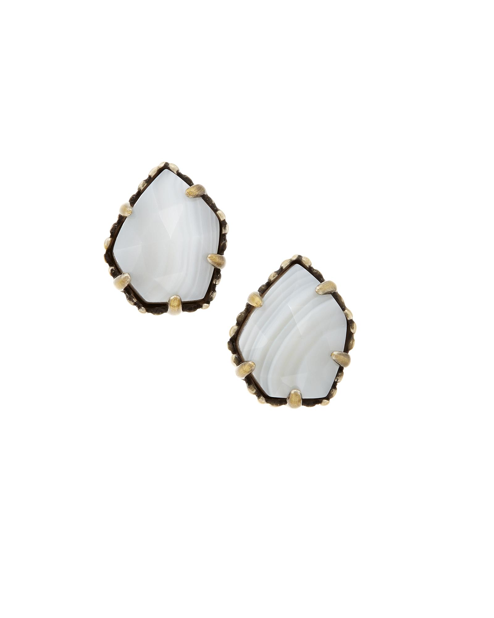3189fed8e Tessa Brass Stud Earrings in White Agate   Kendra Scott