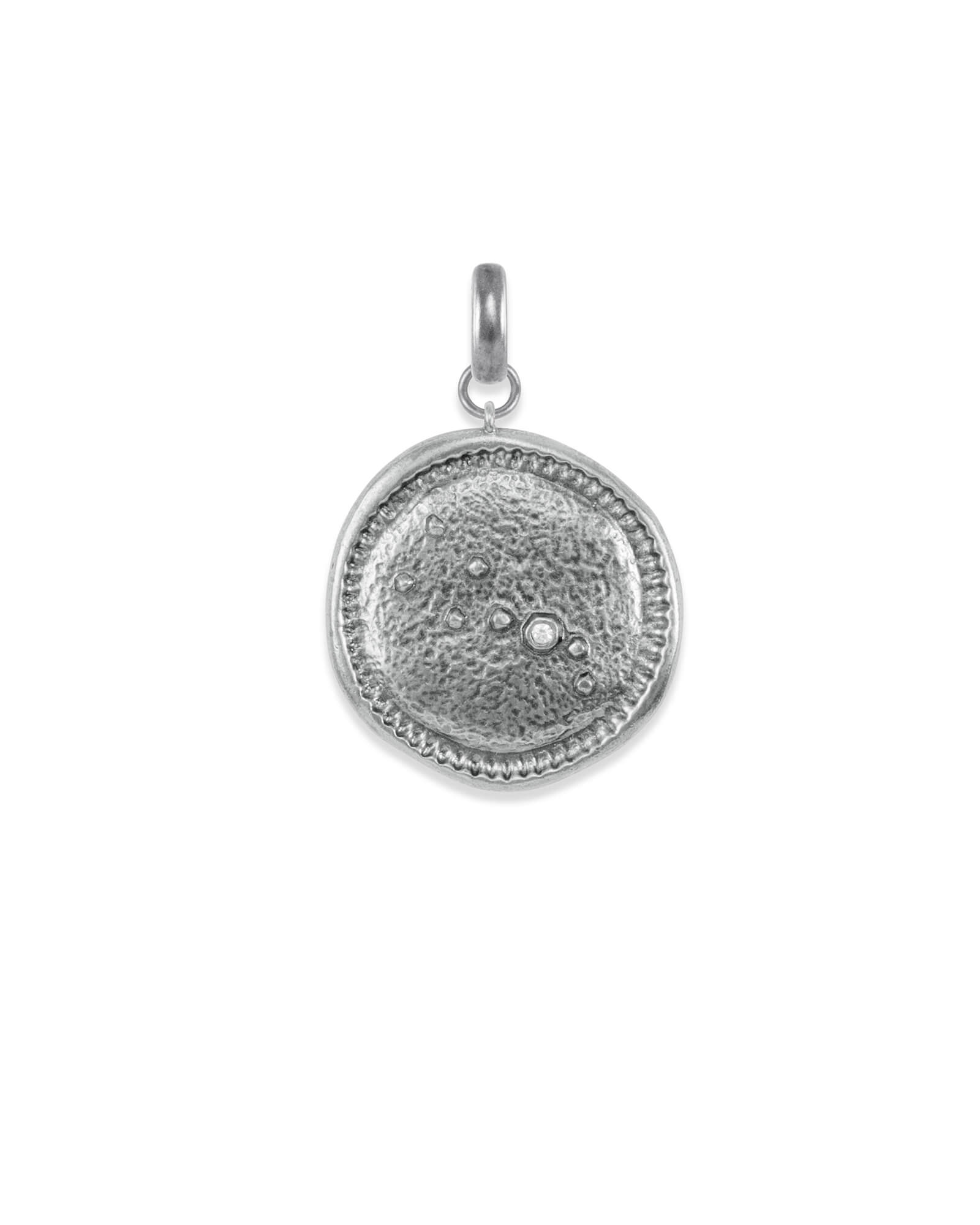 Taurus Coin Charm in Vintage Silver