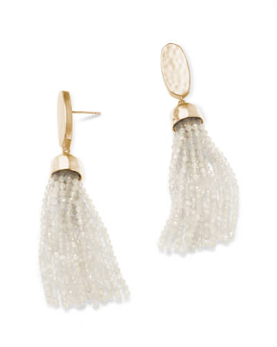 Marin Gold Statement Earrings in White Pearl