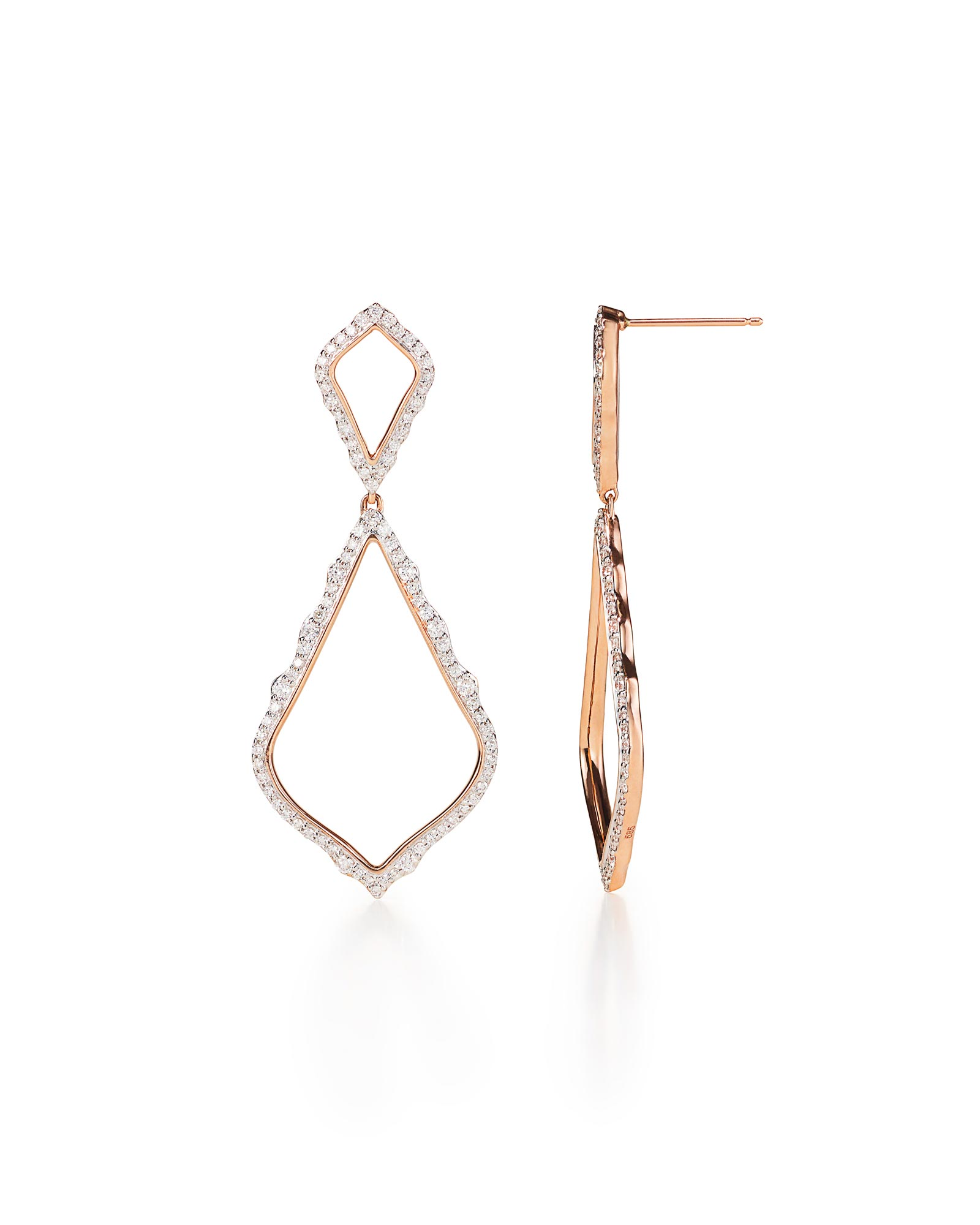 Alexa Statement Earrings in Pave Diamond and 14k Rose Gold