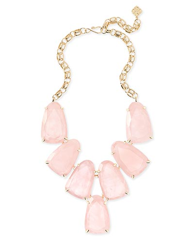 Harlow Statement Necklace in Rose Quartz