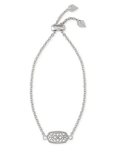 Elaina Silver Adjustable Chain Bracelet in Silver Filigree
