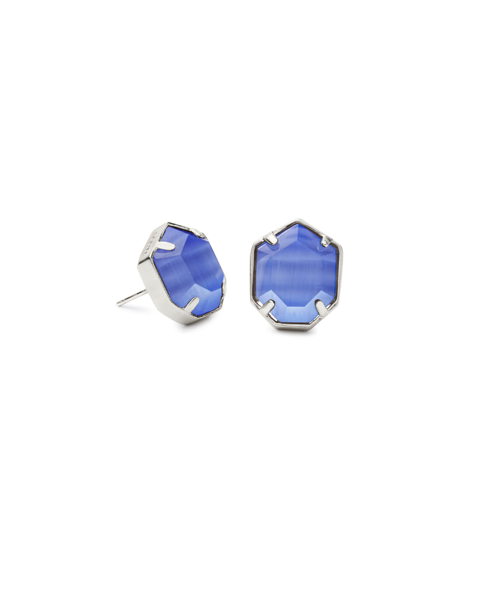 0c97ae574 Taylor Silver Stud Earrings Periwinkle Cats Eye| Kendra Scott