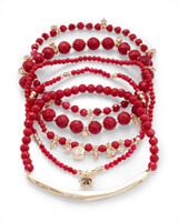 Supak Gold Beaded Bracelet Set In Red Mother of Pearl Mix