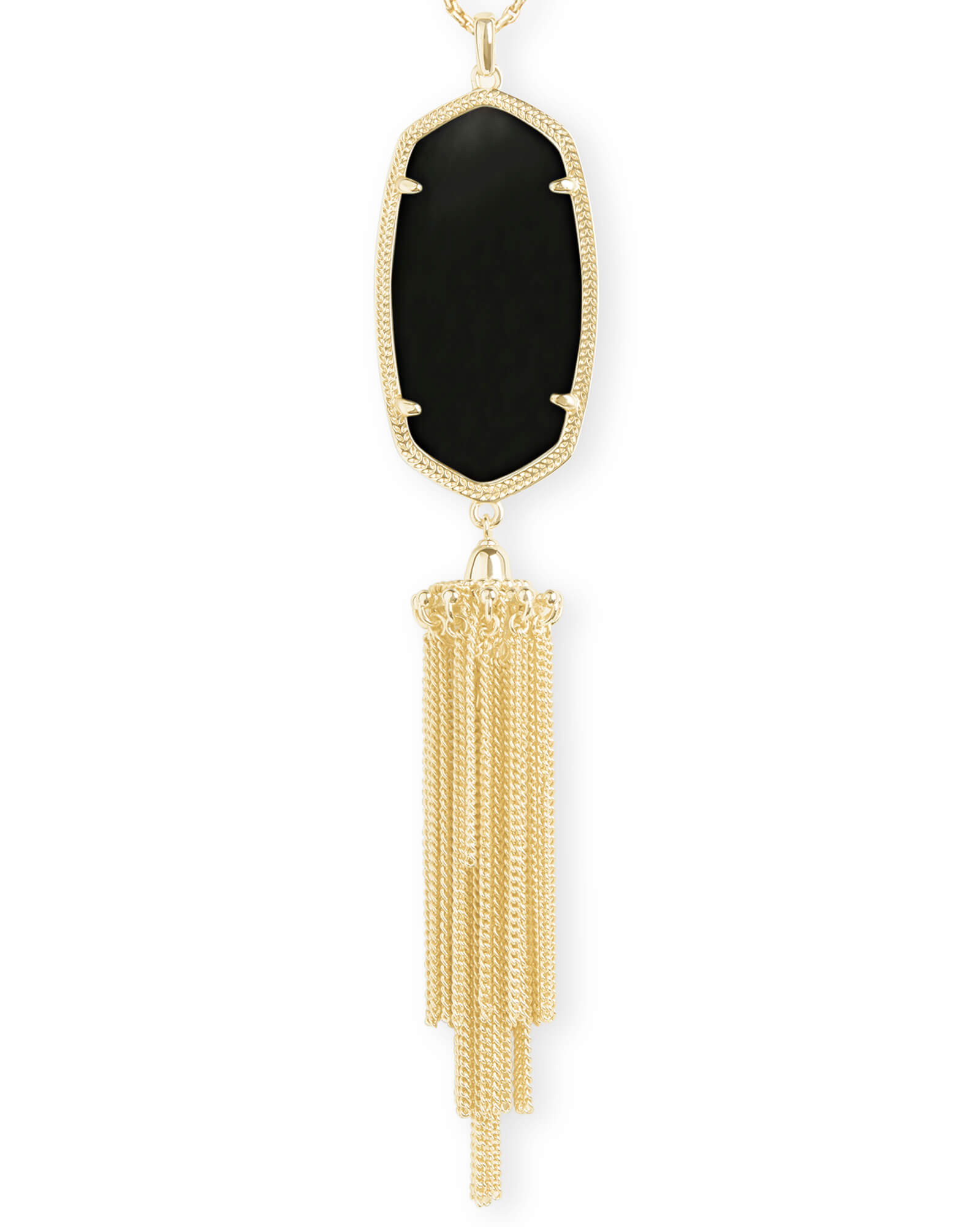 fa9441750 Rayne Gold Long Pendant Necklace in Black | Kendra Scott