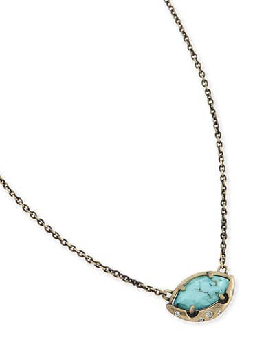 Mikka Pendant Necklace in Variegated Turquoise
