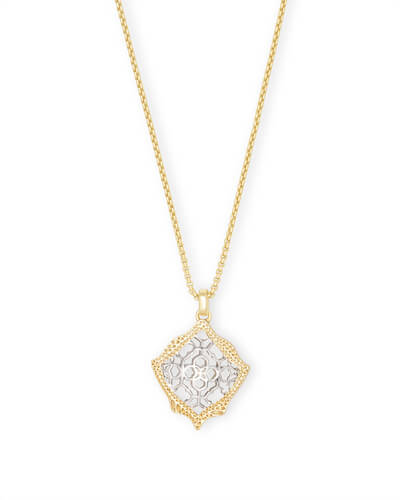 Kacey Gold Long Pendant Necklace in Silver Filigree Mix