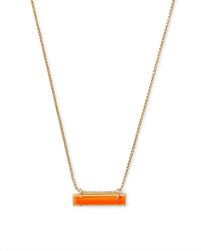 Leanor Gold Pendant Necklace in Orange
