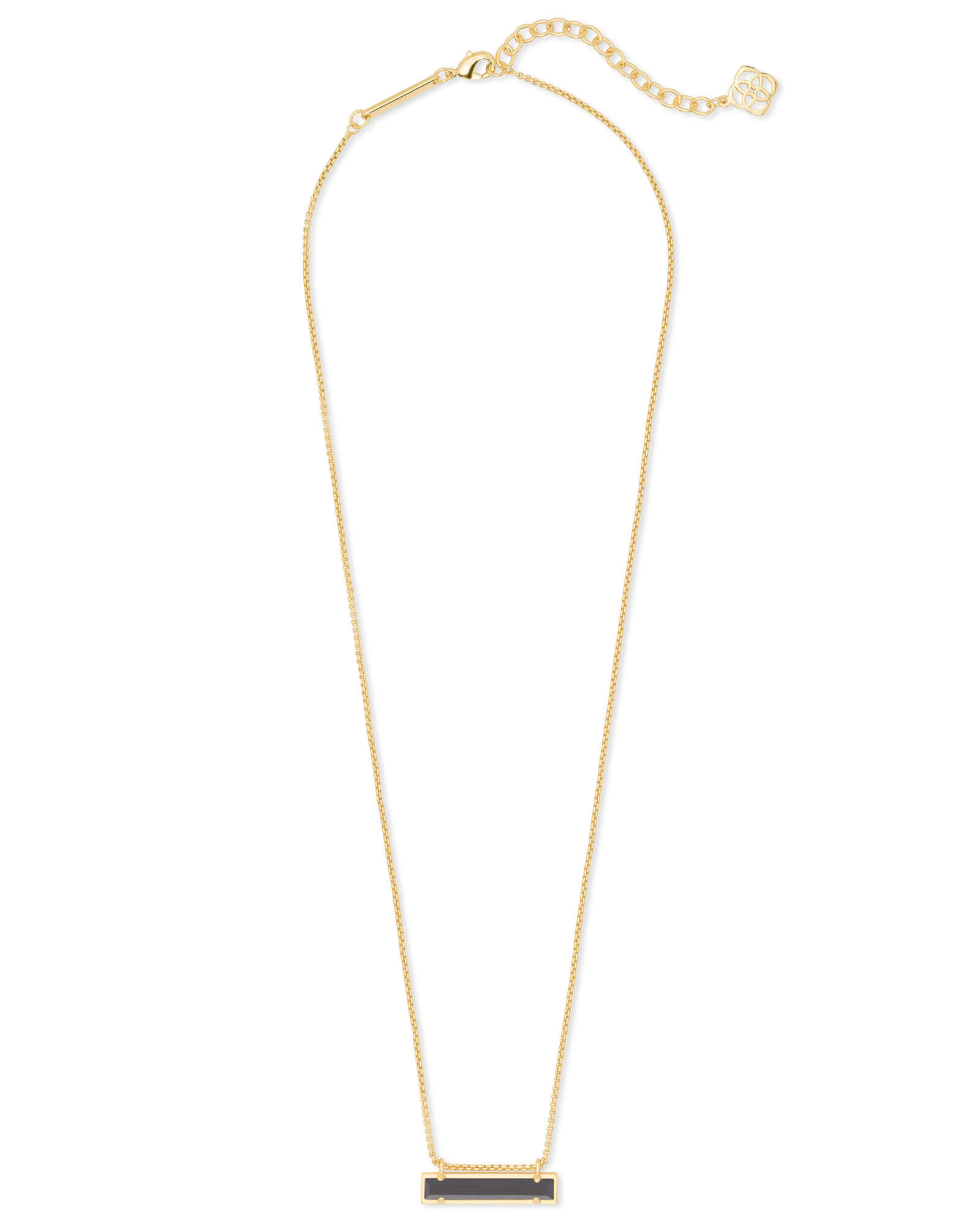 Leanor Gold Pendant Necklace in Black Opaque Glass