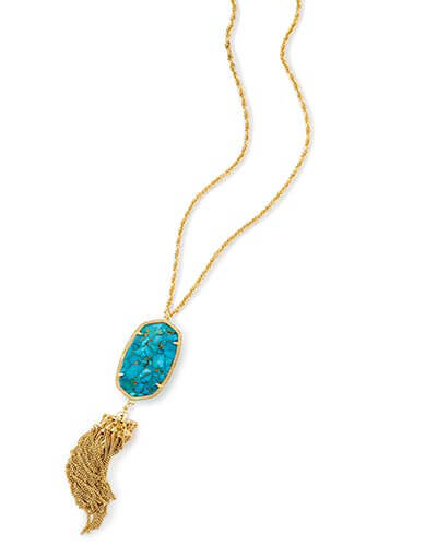 Rayne Long Pendant Necklace in Bronze Veined Turquoise