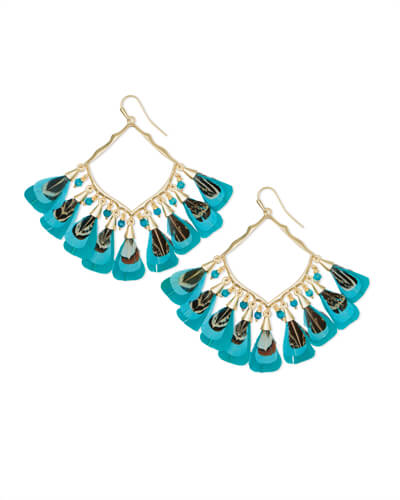 Raven Gold Drop Earrings in Teal Feather Bead Mix