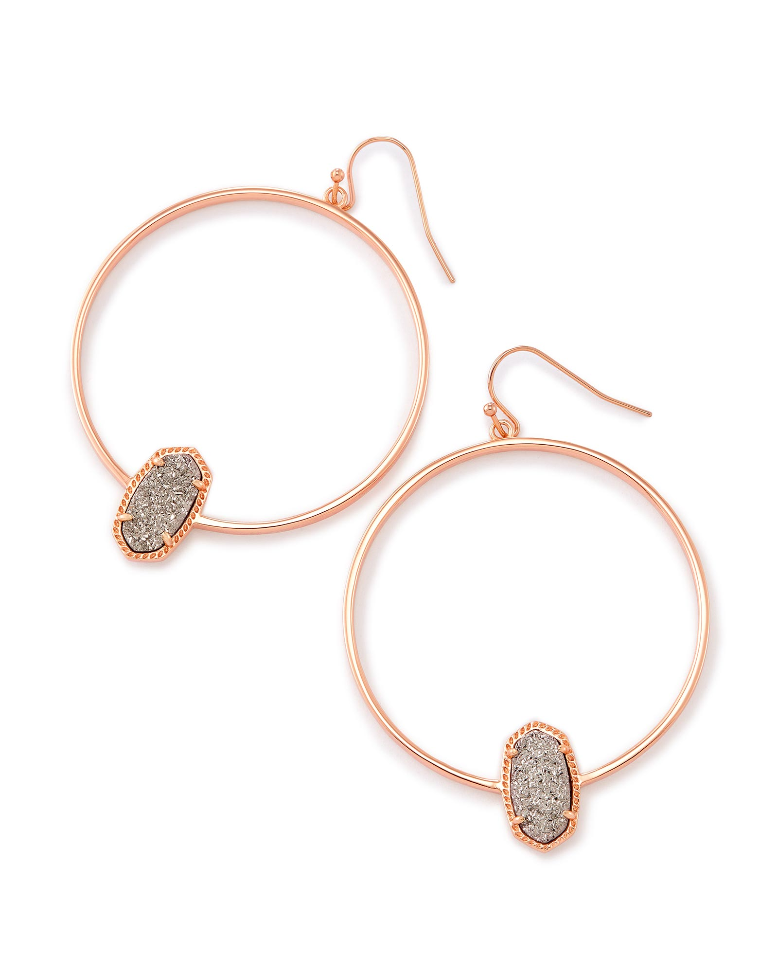 Elora Rose Gold Hoop Earrings in Drusy Kendra Scott