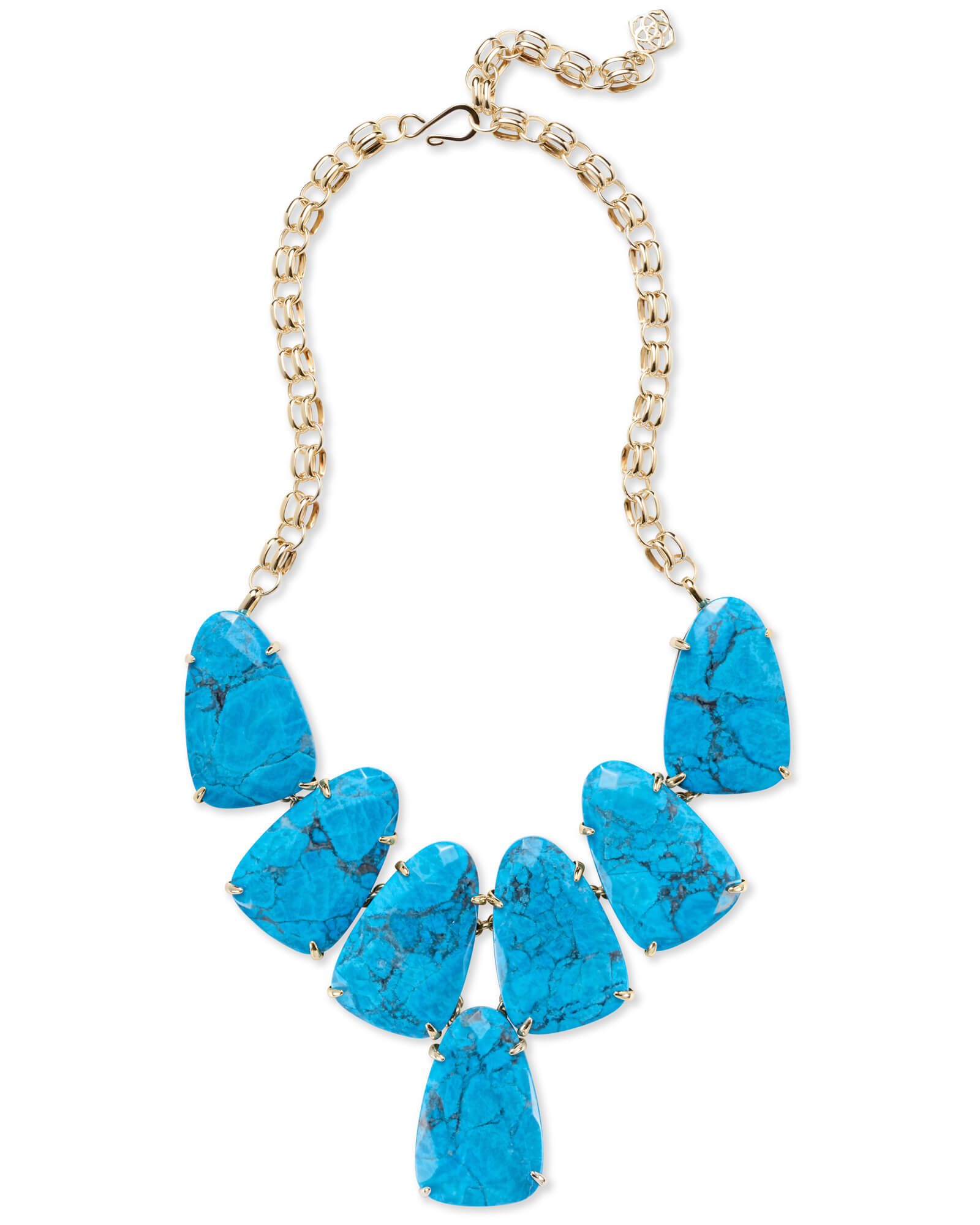 Harlow Gold Statement Necklace in Aqua Howlite
