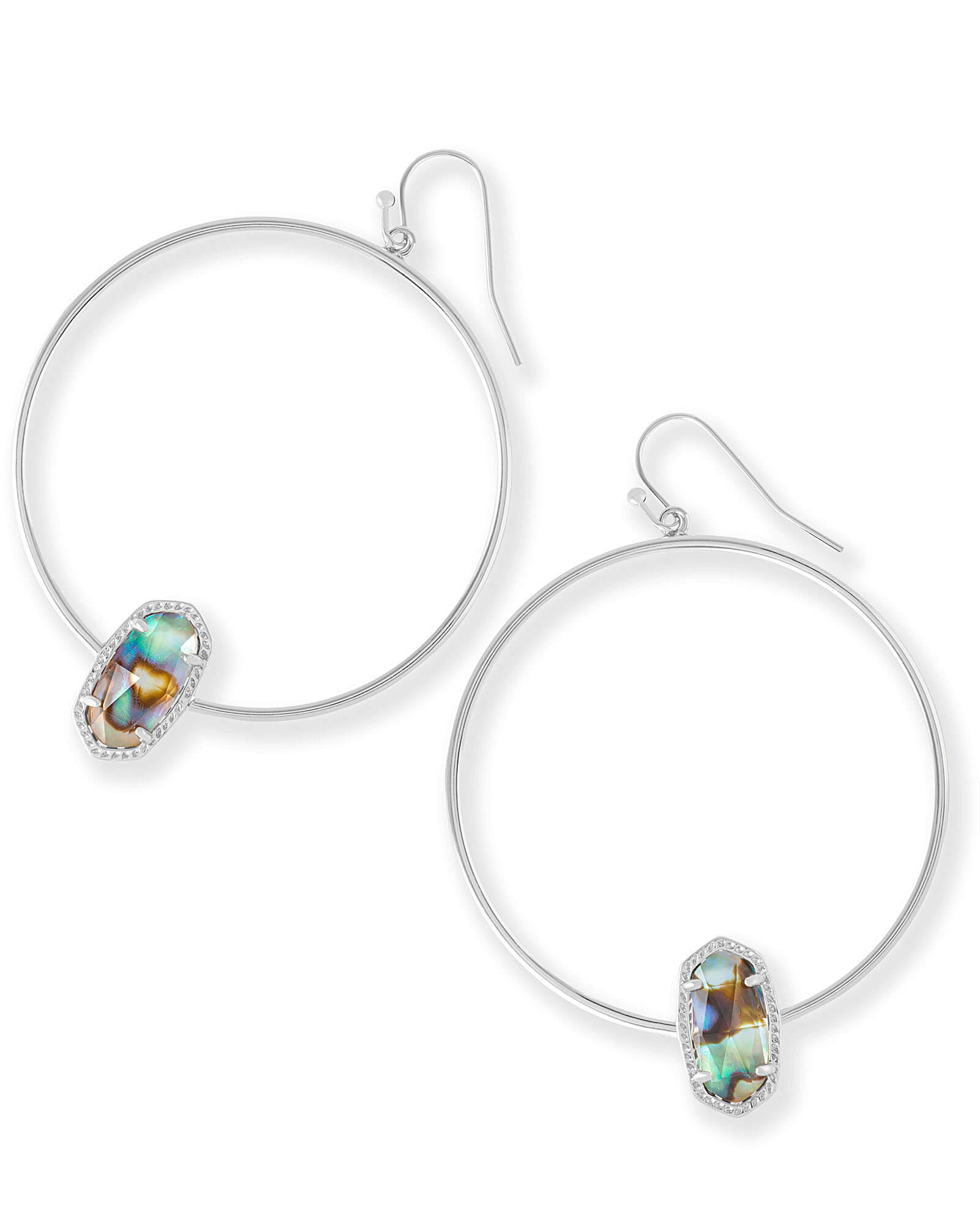 Elora Silver Hoop Earrings in Abalone Shell