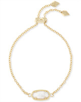 Elaina Gold Adjustable Chain Bracelet in White Pearl