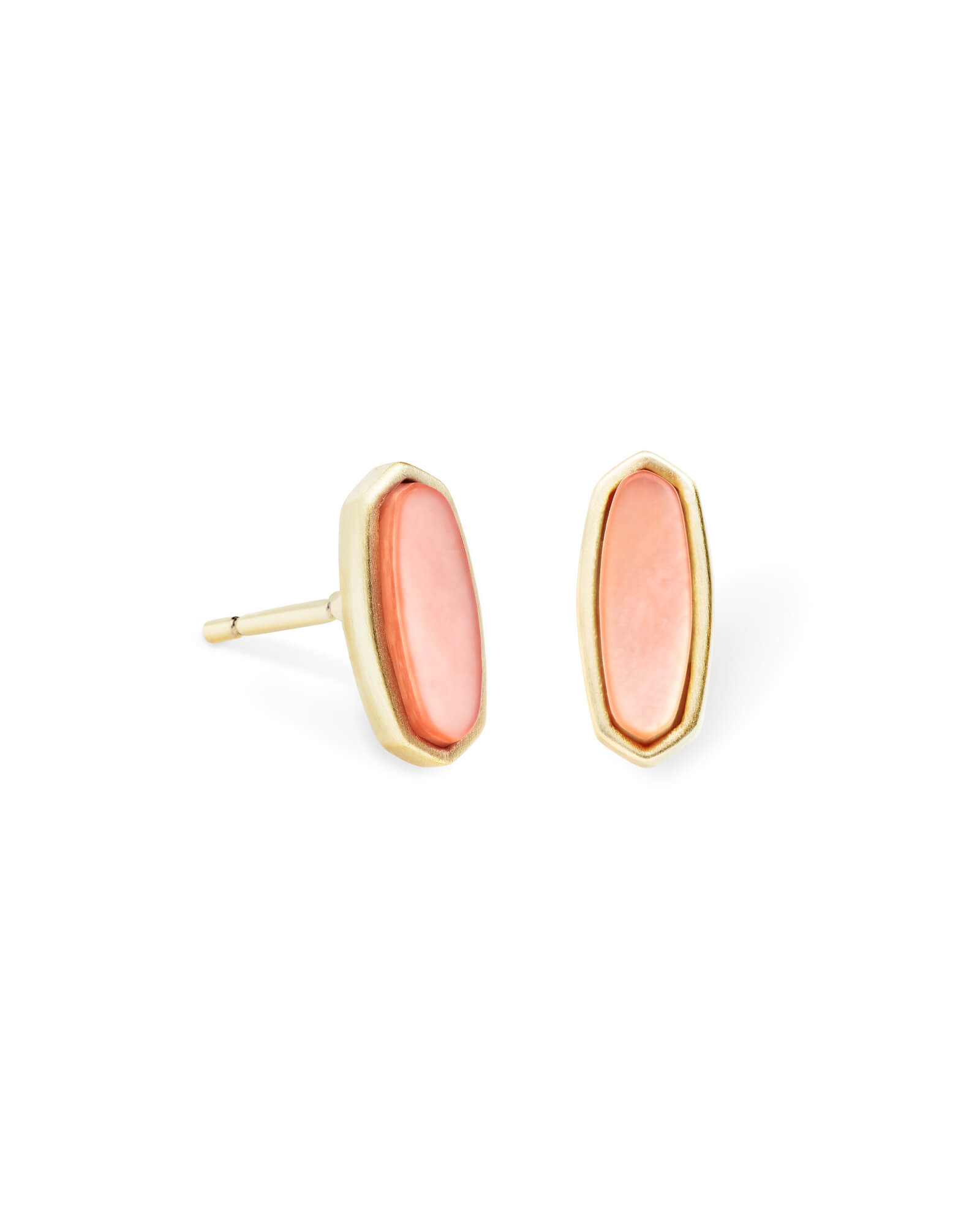 Mae Gold Stud Earrings in Peach Pearl