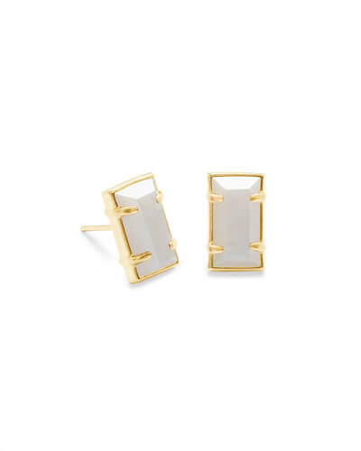 Paola Gold Stud Earrings in White Pearl