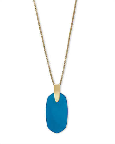Inez Gold Long Pendant Necklace In Teal Agate