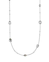 Gwenyth Silver Long Strand Necklace In White Mix