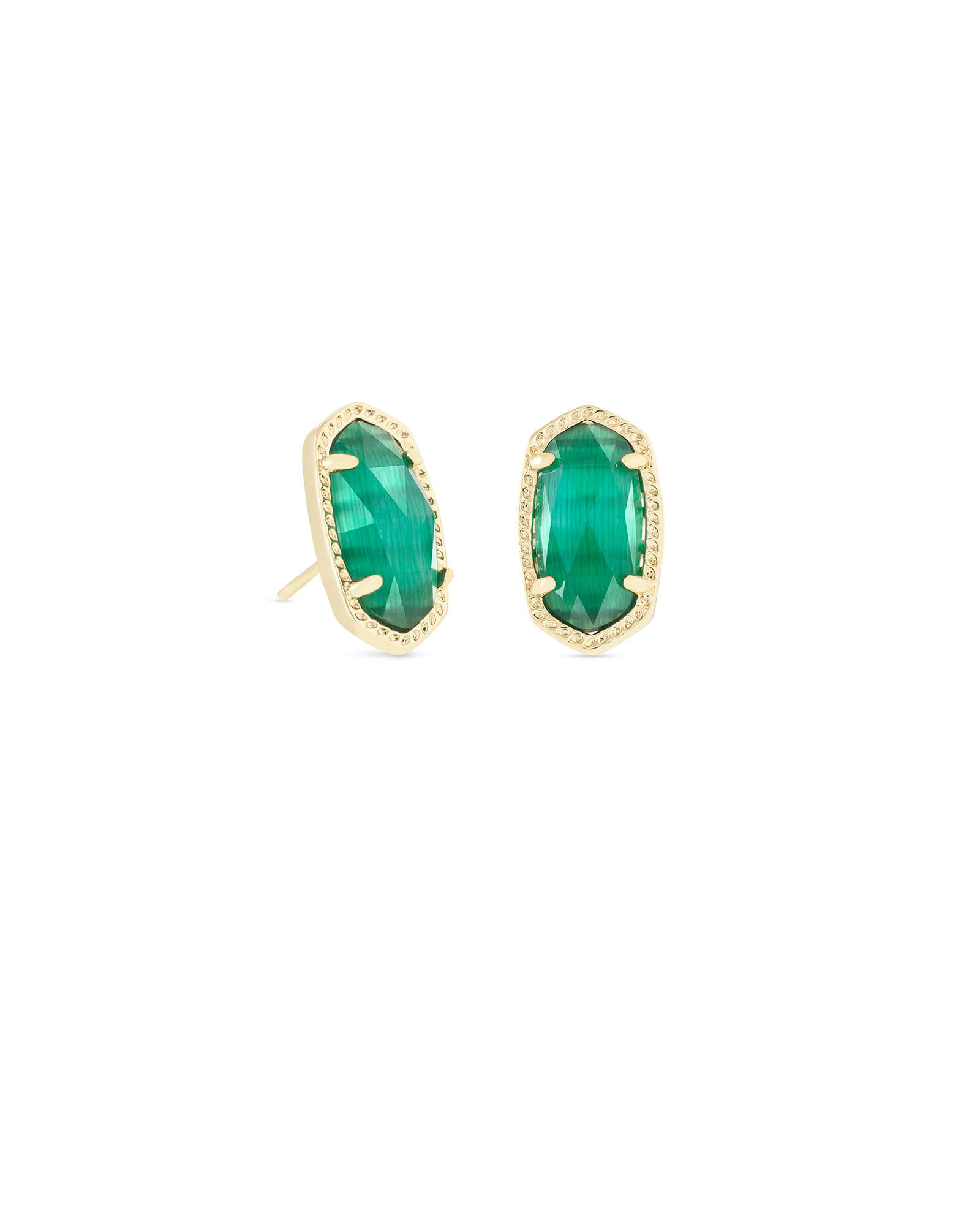 Ellie Gold Stud Earrings in Emerald Cats Eye