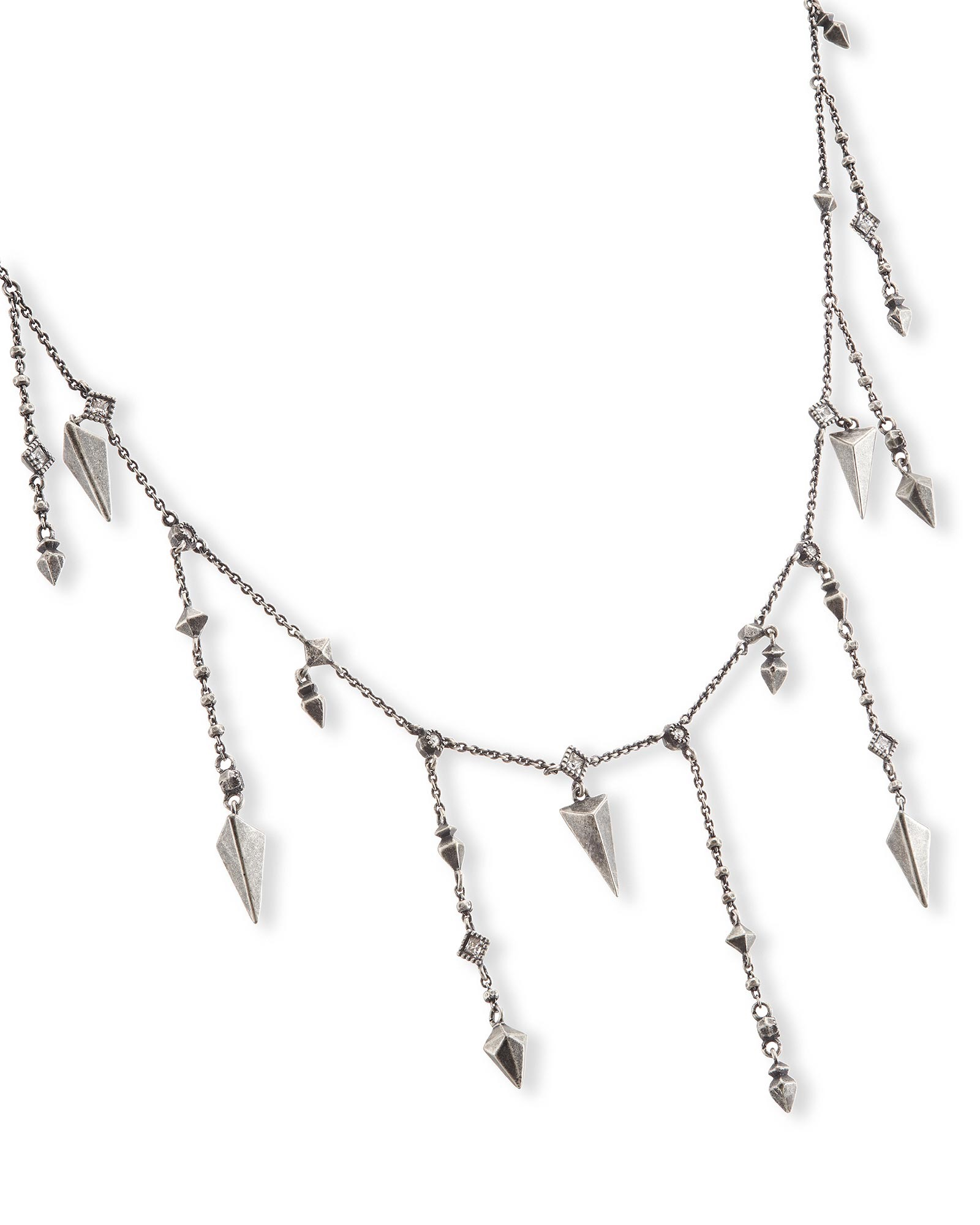 Loralei Long Necklace in Antique Silver