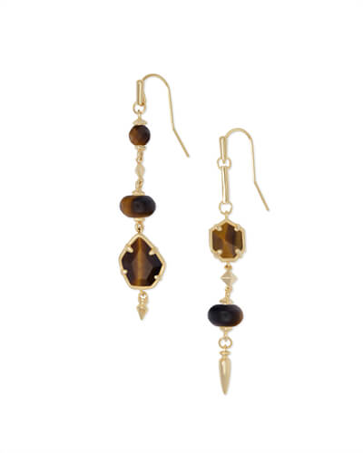 Rhys Gold Statement Earrings in Brown Tigers Eye