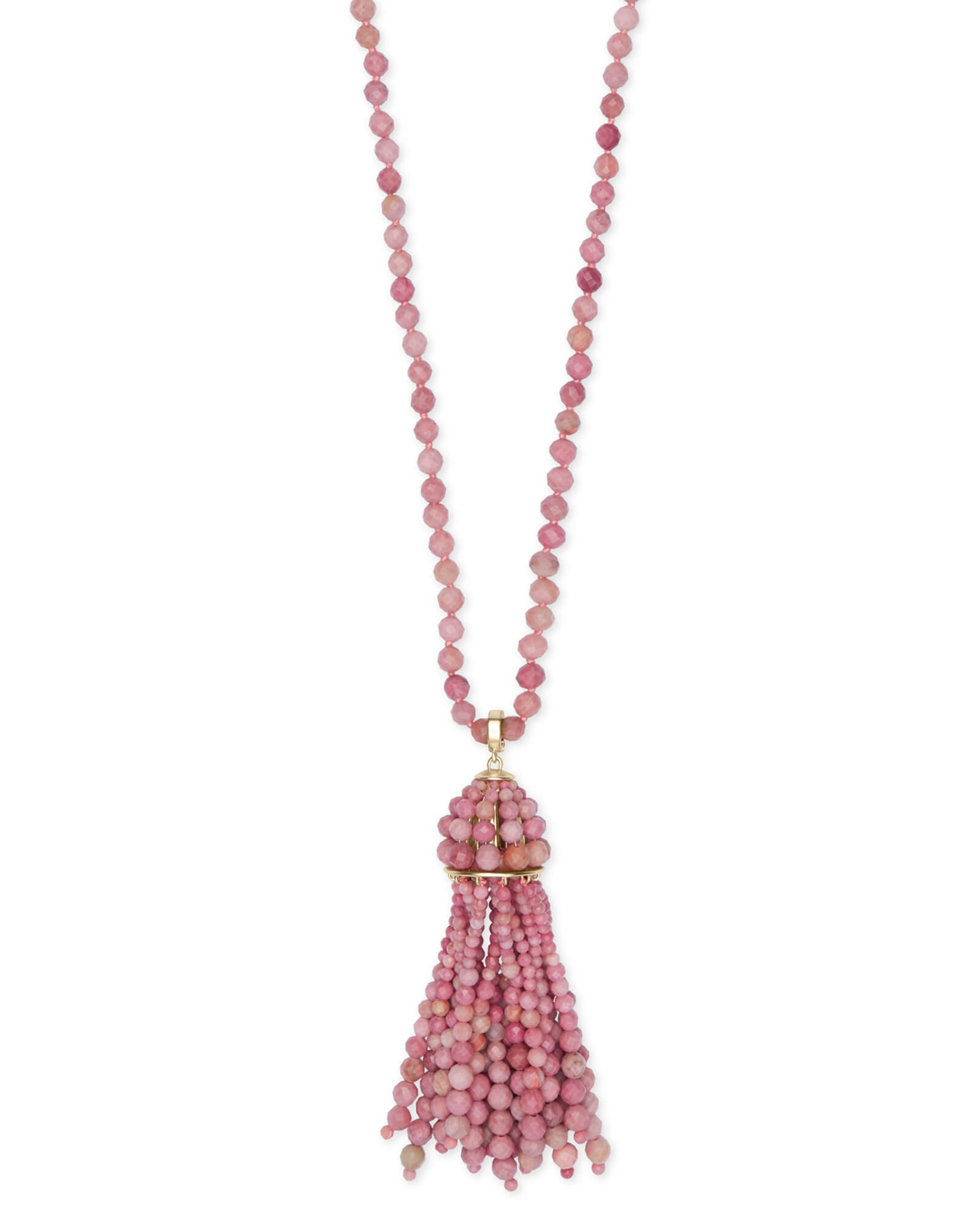 Sylvia Gold Long Pendant Necklace in Pink Rhodonite