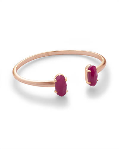Edie Rose Gold Bracelet in Maroon Jade