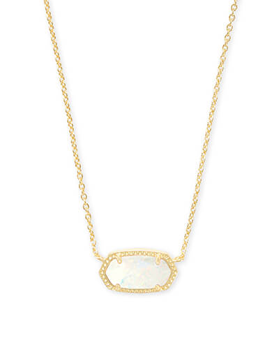 Elisa Gold Pendant Necklace in White Kyocera Opal