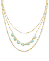 Susanna Gold Multi Strand Necklace in Sea Green