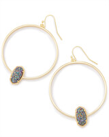 Elora Gold Hoop Earrings In Multicolor Drusy