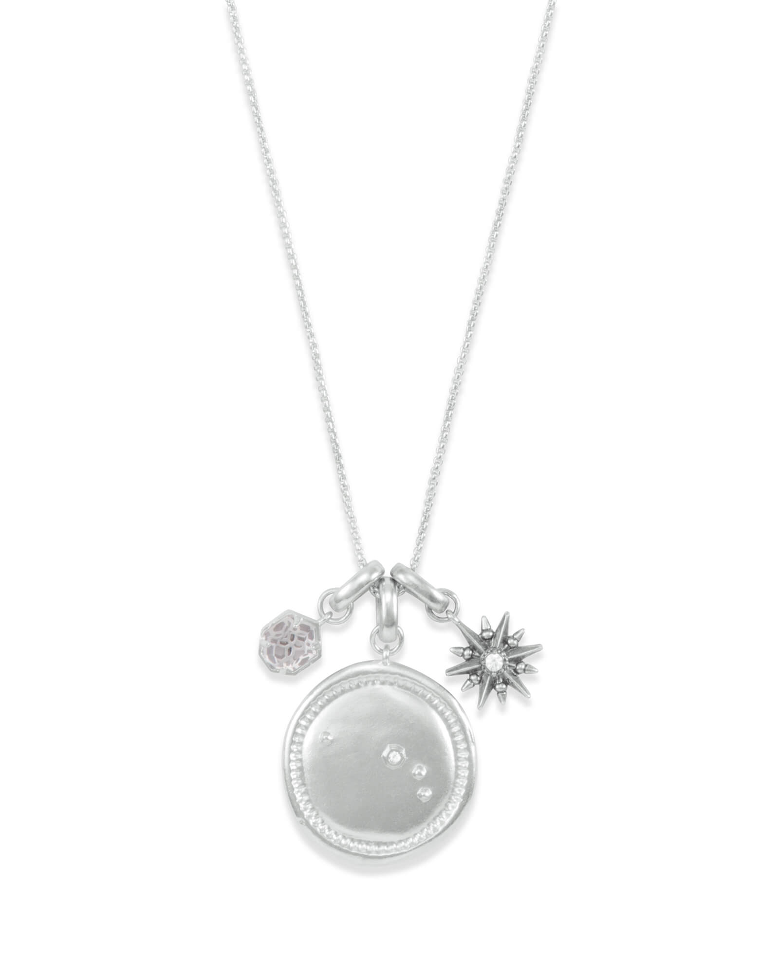 April Aries Charm Necklace Set in Silver