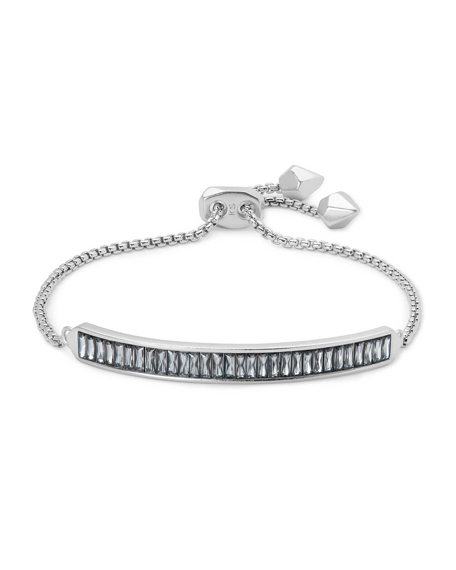 Jack Adjustable Silver Chain Bracelet in Charcoal Gray Crystal