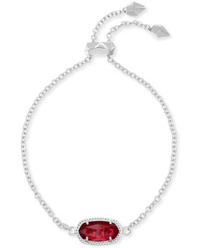 Elaina Silver Adjustable Chain Bracelet in Berry