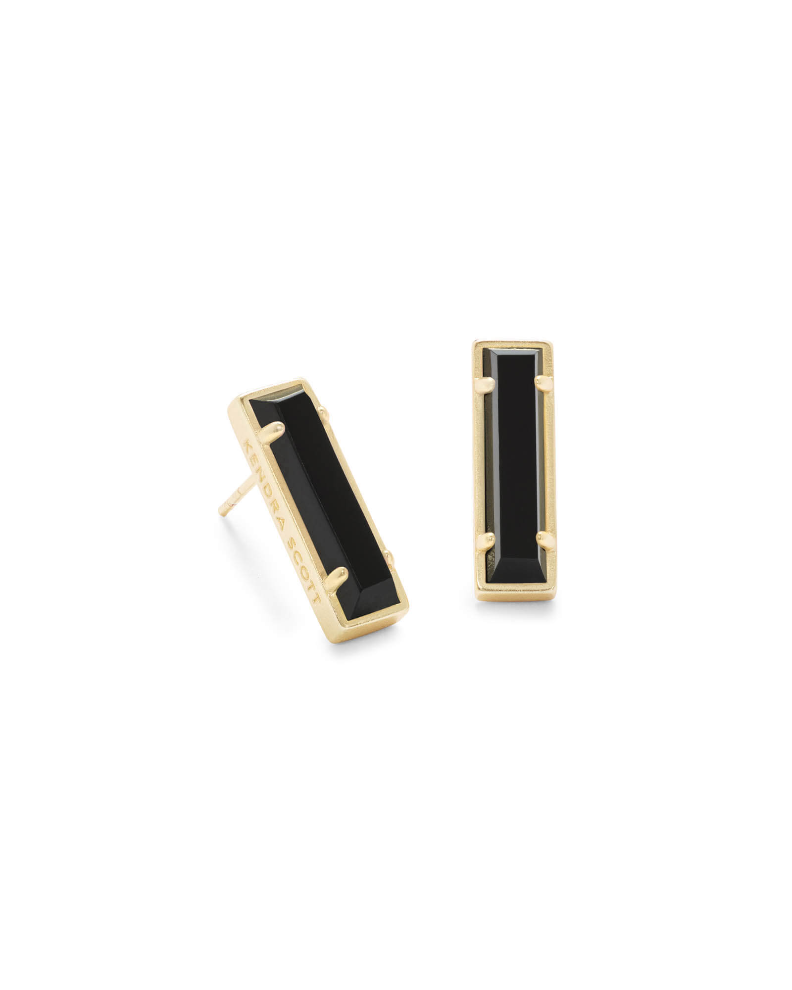 Lady Gold Stud Earrings in Black Opaque Glass