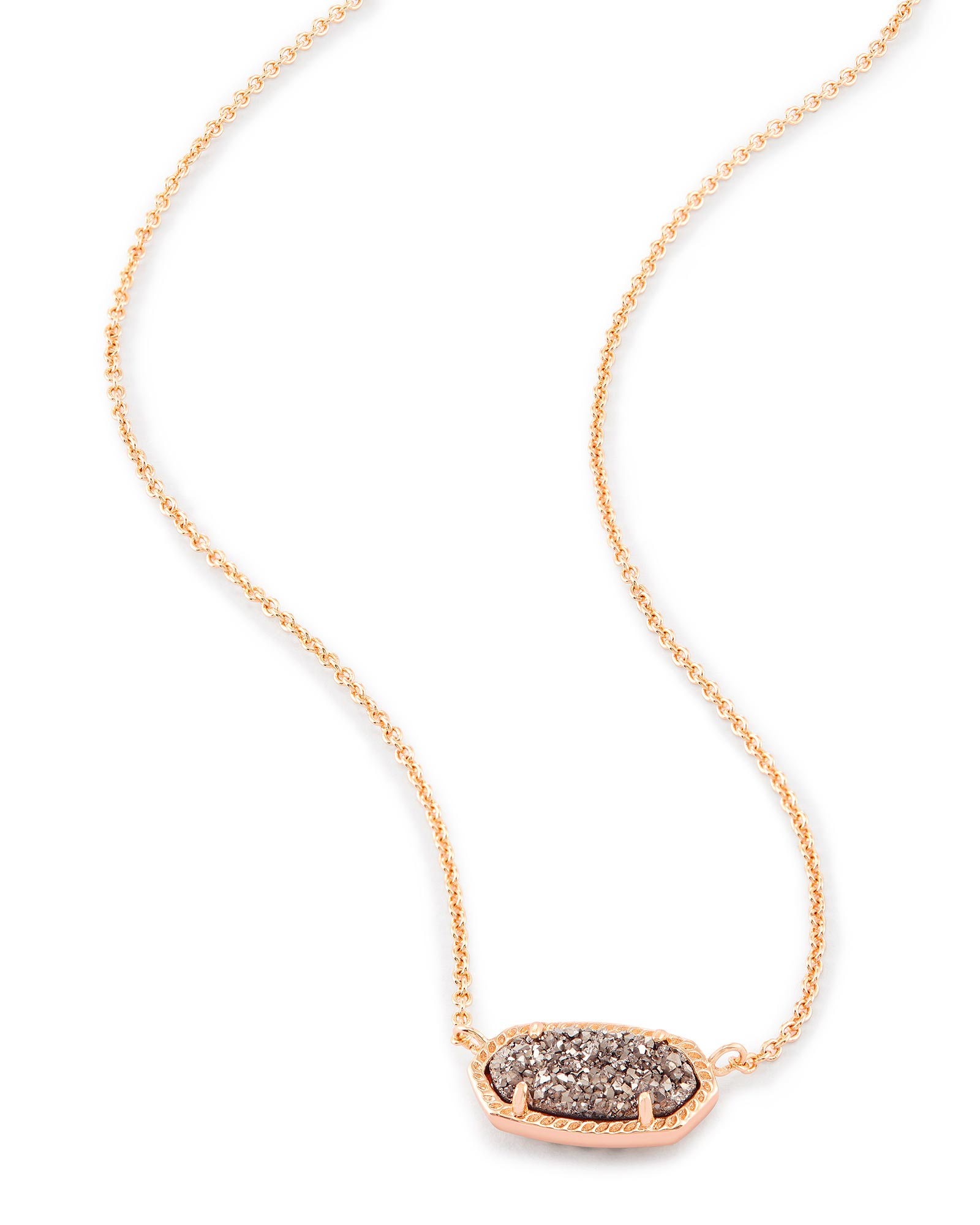 Elisa Rose Gold Pendant Necklace in Platinum Drusy