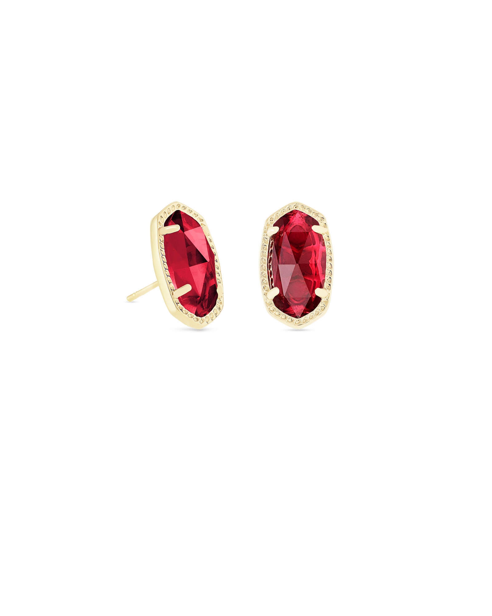 Ellie Gold Stud Earrings in Berry