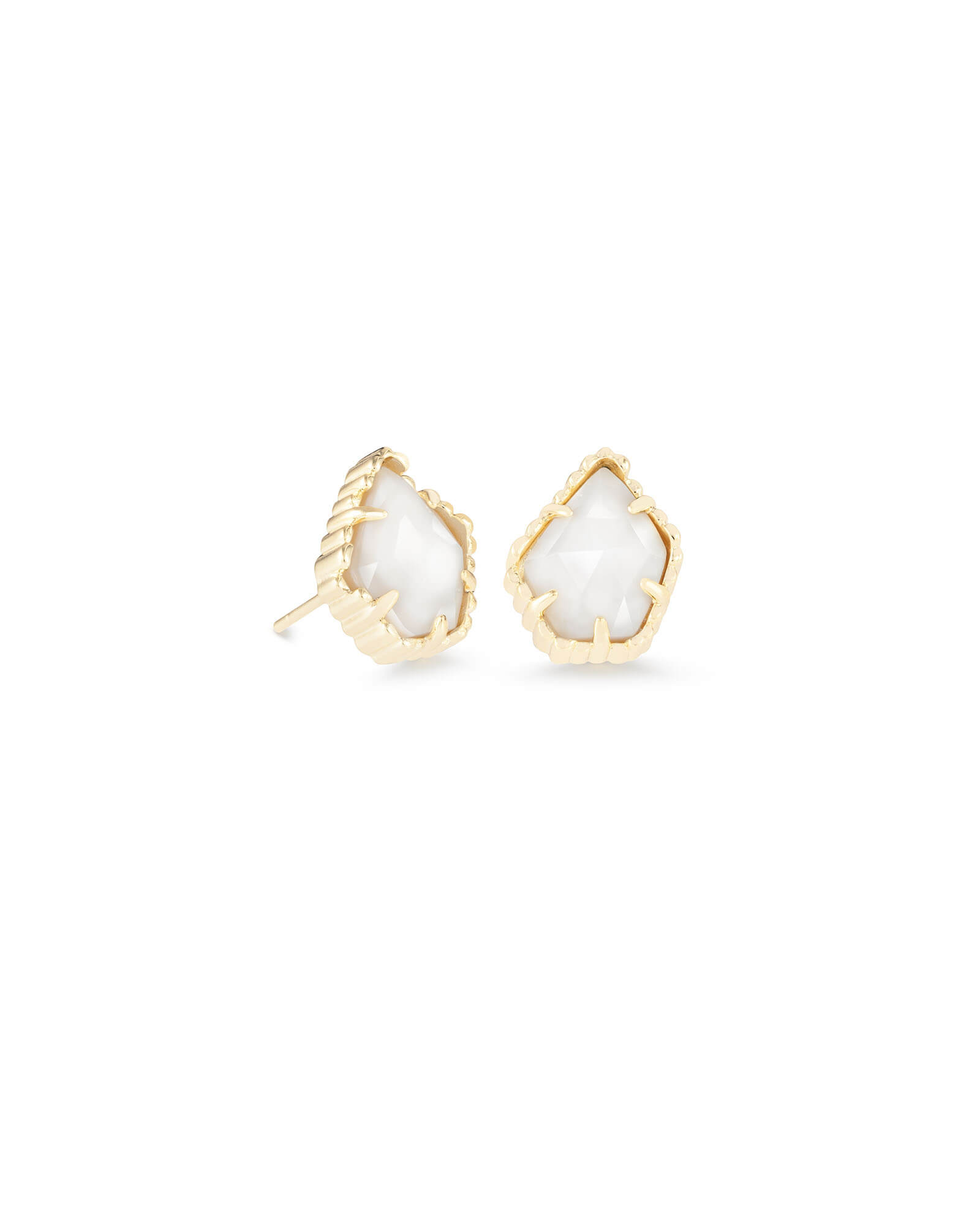 Tessa Gold Stud Earrings in White Pearl