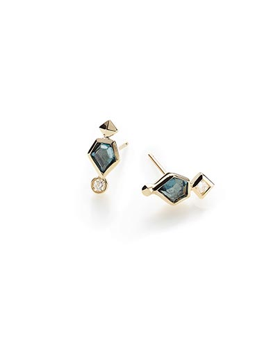Bonnie Stud Earrings in London Blue Topaz and 14k Yellow Gold